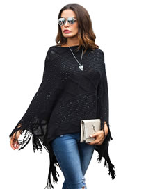 Fashion Black Tassel Decorated Pure Color Sweater