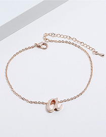 Rose Gold Letter?a?decorated?pure?color?bracelet?