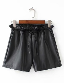 Fashion Black Pure Color Decorated Simple Shorts