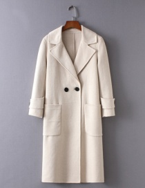 Fashion Beige Long Sleeves Design Pure Color Overcoat