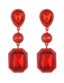 Elegant Red Geometric Shape Diamond Decorated Earrings