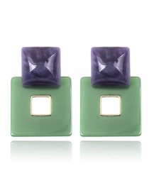 Fashion Purple+green Double Square Shape Design Earrings