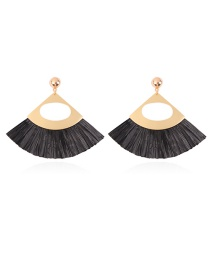 Fashion Black Sector Shape Design Hollow Out Earrings
