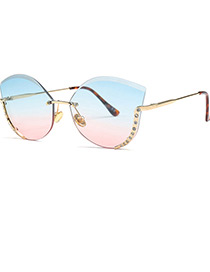 Trendy Blue+pink Diamond Decorated Color Matching Sunglasses