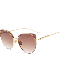 Trendy Brown Thin Legs Design Round Shape Sunglasses
