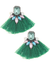 Elegant Green Diamond Decorated Tassel Earrings