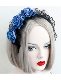 Fashion Blue Flower Shape Decorated Hairband
