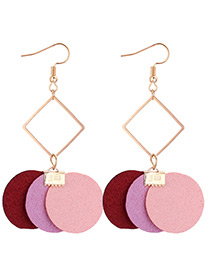 Fashion Purple+pink Round Shape Decorated Earrings
