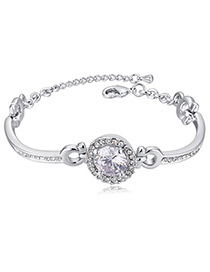 Elegant White Diamond Decorated Pure Color Bracelet