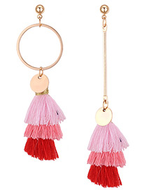 Fashion Red+pink Color-matching Decorated Earrings
