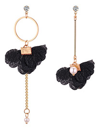 Fashion Black Round Shape Decorated Asymmetry Earrings