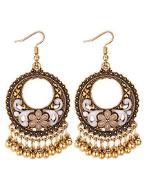 Vintage Beige Round Shape Decorated Earrings