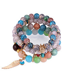 Trendy Multi-color Wing&beads Decorated Multi-layer Bracelet