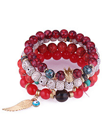Trendy Red Wing&beads Decorated Multi-layer Bracelet
