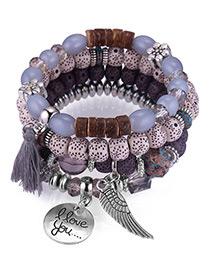 Vintage Gray Tassel&wing Decorated Multi-layer Bracelet