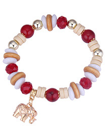 Vintage Red Elephant Pendant Decorated Beads Bracelet