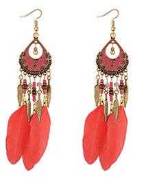 Fashion Red Leaf Decorated Earrings
