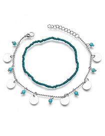 Elegant Silver Color Round Shape Decorated Double Layer Anklet