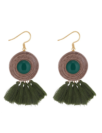 Fashion Green Tassel Decorated Round Earrings