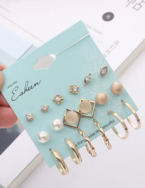 Fashion Gold Color Circular Ring Shape Decorated Earrings Sets (18 Pcs )