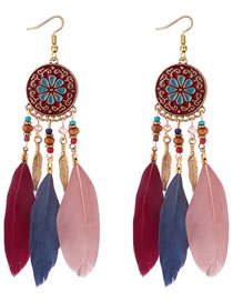 Fashion Multi-color Flower Pattern Decorated Earrings