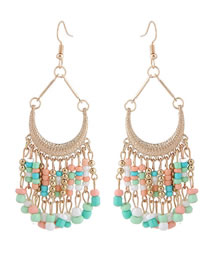 Fashion Multi-color Bead Decorated Pure Color Earrings