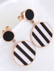 Fashion Black+white Stripe Pattern Decorated Round Earrings
