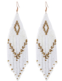 Fashion Gold Color+white Tassel Decorated Earrings