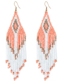 Fashion Orange+white Tassel Decorated Earrings
