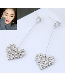 Fashion Silver Ocolor Heart Shape Decorated Earrings