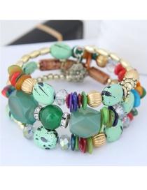 Fashion Multi-color Bead Decorated Multi-layer Bracelet
