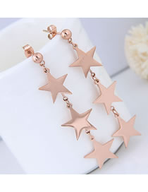 Elegant Rose Gold Star Shape Decorated Pure Color Earrings