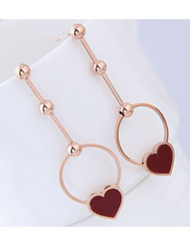 Elegant Rose Gold Circular Ring Decorated Long Earrings