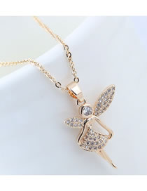 Elegant Gold Color Angel Pendant Decorated Long Necklace