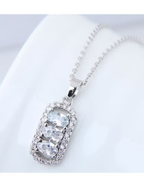 Elegant Silver Color Square Shape Pendant Decorated Necklace