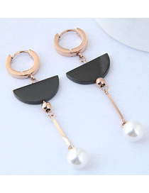 Fashion Black+rose Gold Pearls Decorated Color Matching Earrings