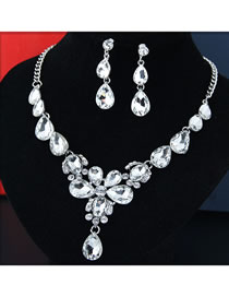 Fashion White Full Diamond Design Color Matching Jewelry Sets