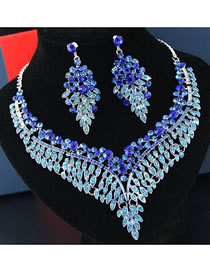 Fashion Sapphire Blue Diamond Decorated Hollow Out Jewelry Sets