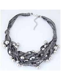 Fashion Silver Color Balls Decorated Multi-layer Necklace