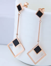 Fashion Rose Gold Hollow Out Square Shape Decorated Earrings