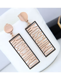 Fashion Rose Gold Letter Pattern Decoratedhollow Out Earrings