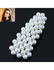 Fashion Silver Color+white Full Pearl Decorated Hair Clip