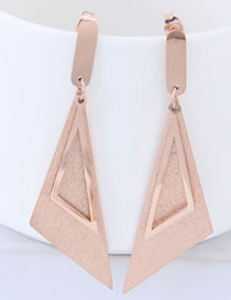Elegant Rose Gold Triangle Shape Design Simple Earrings