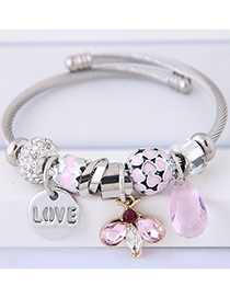 Fashion Pink Waterdrop Shape Decorated Multi-element Bracelet