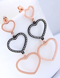 Fashion Rose Gold Heart Shape Design Earrings