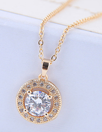 Sweet Gold Color Round Shape Pendant Decorated Necklace