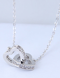 Sweet Silver Color Heart Shape Pendant Decorated Necklace