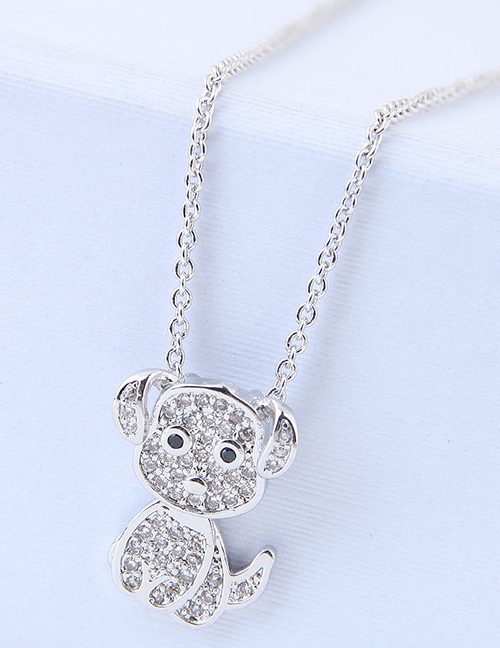 Elegant Silver Color Dog Pendant Decorated Long Necklace