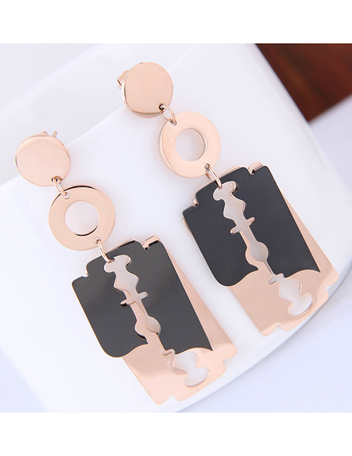 Elegant Rose Gold+black Blade Shape Design Long Earrings