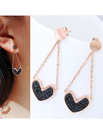 Fashion Rose Gold+black Heart Shape Decorated Tassel Earrings